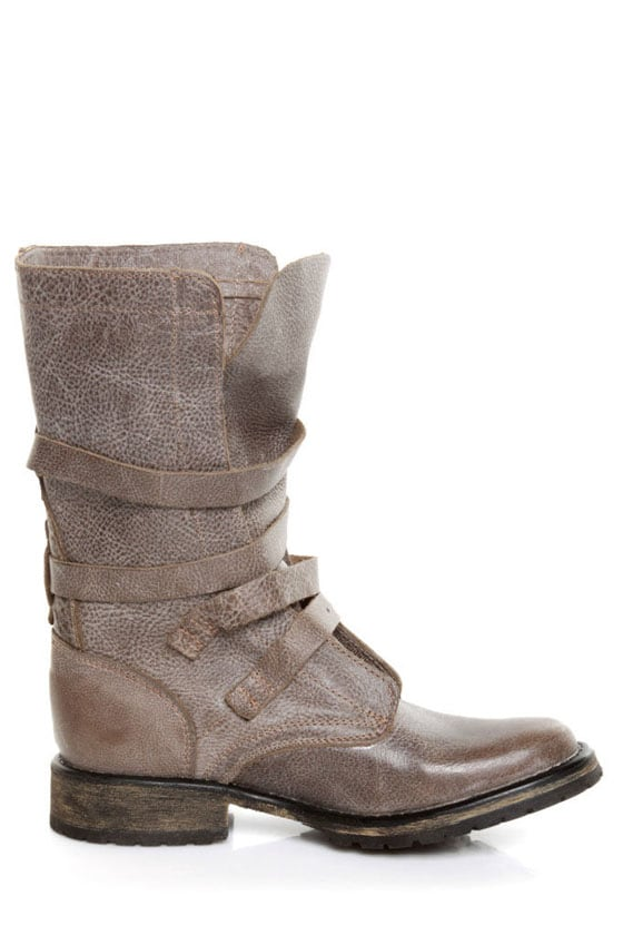 Steve Madden Banddit Stone Leather Slouchy Belted Combat Boots ...