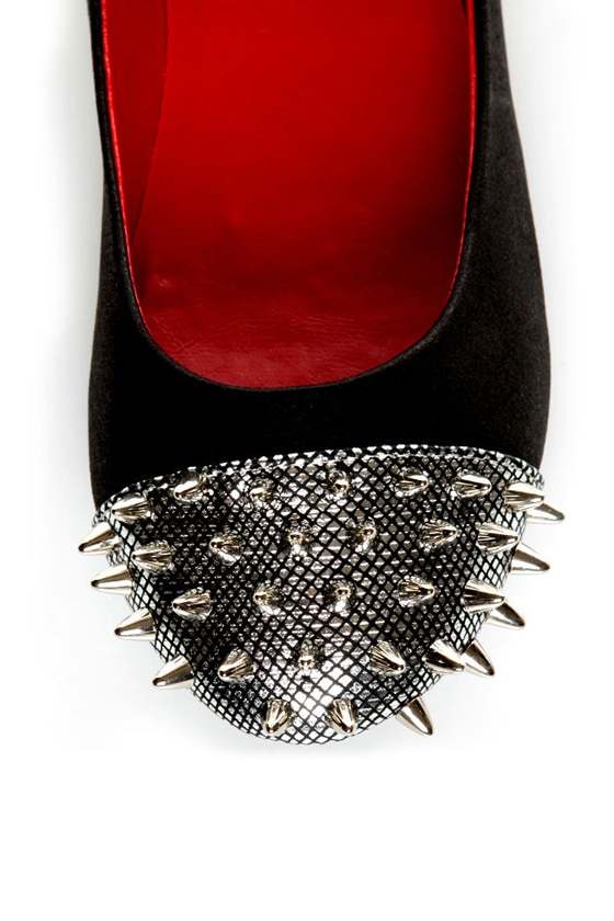 Shoe Republic LA Scion Black Spiked Cap-Toe Flats