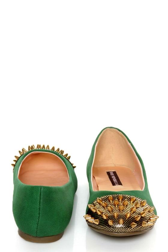 Shoe Republic LA Scion Green Spiked Cap-Toe Flats