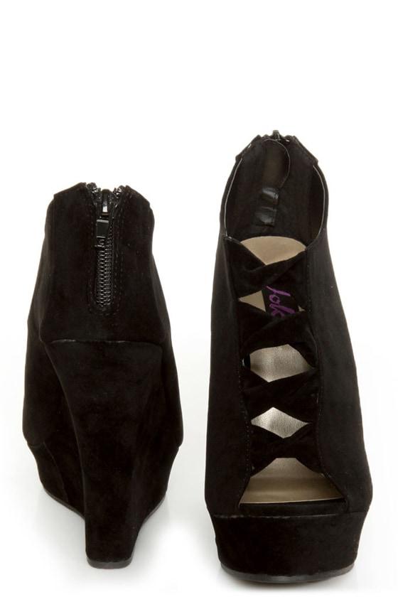 Yoki Miriam Black Cutout Peep Toe Shootie Wedges