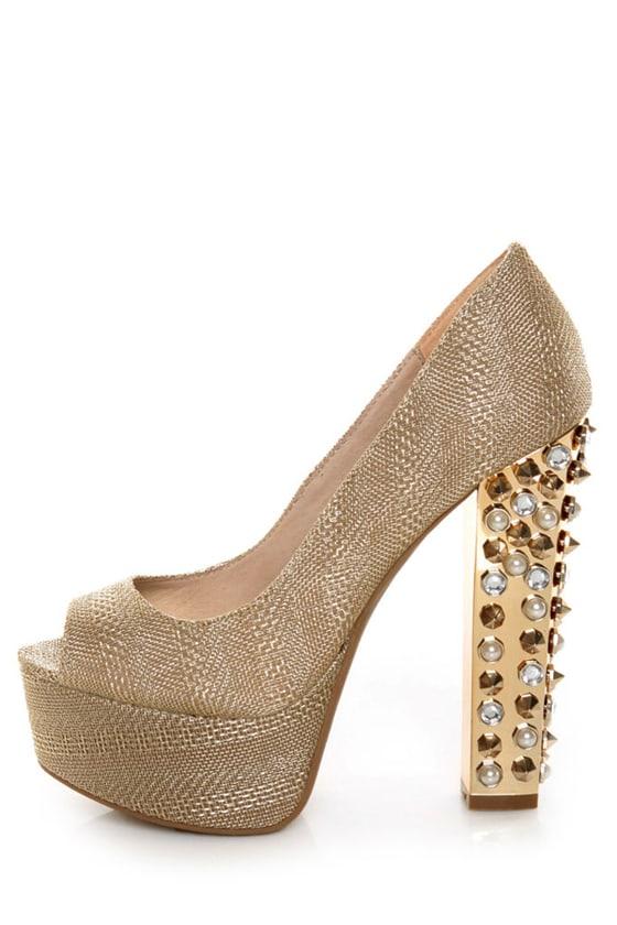 Zigi Girl Jayla Gold Mesh Studded Platform Heels