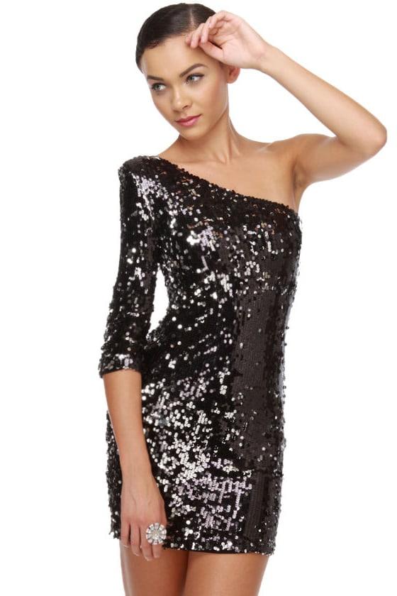Blaque Label Meteor Explosion Silver & Black Sequin Dress