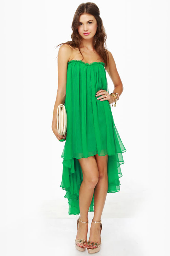 Blaque Label Chiffon Dress - Green Dress - High Low Dress ...