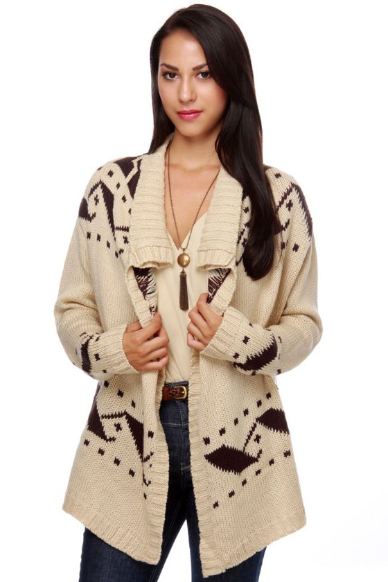 Costa Blanca Sunset Cliffs Brown and Ivory Sweater