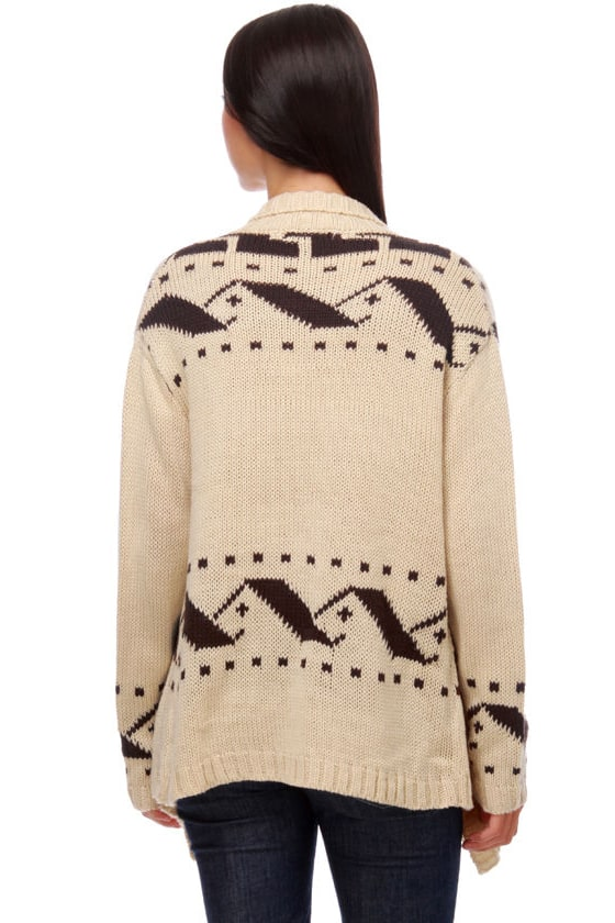 Costa Blanca Sunset Cliffs Brown and Ivory Sweater at Lulus.com!