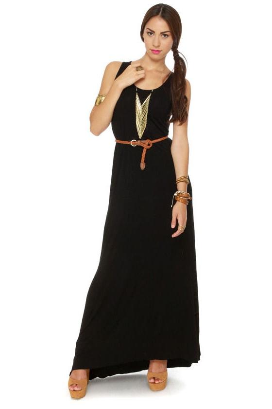Gypsy Junkies Axel Slashed Black Maxi Dress