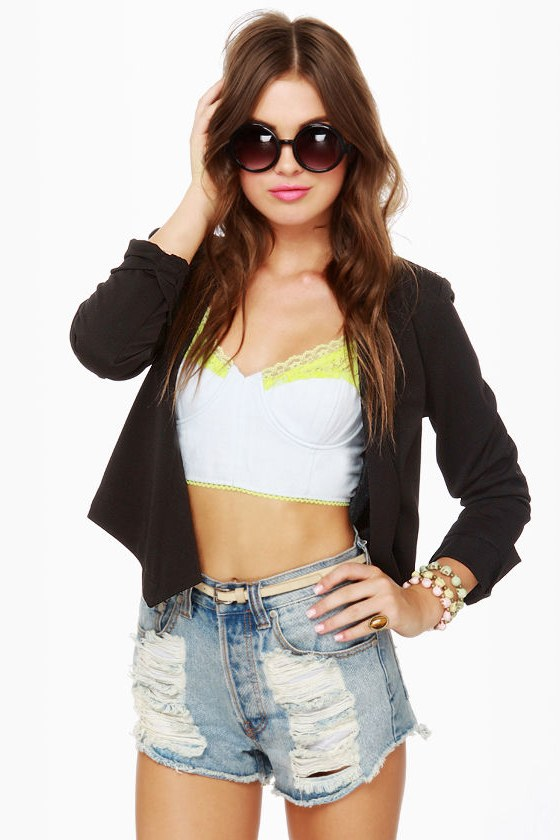 Shred-liest Catch Black Cropped Jacket
