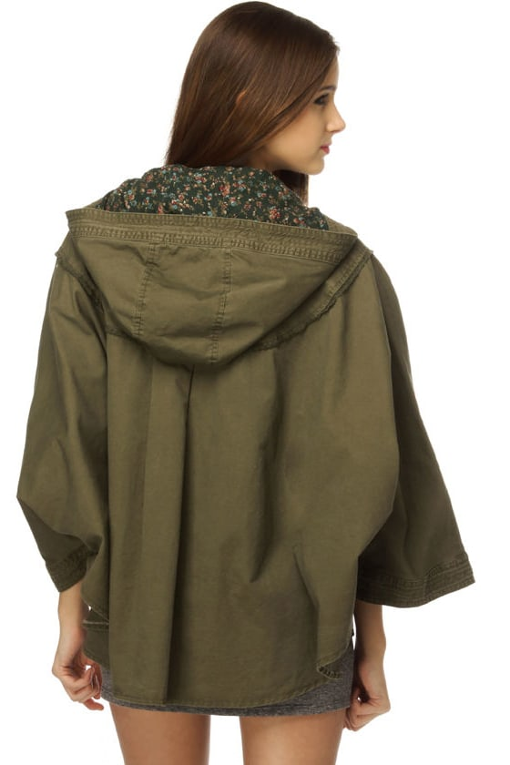 Under the Weather Army Green Poncho