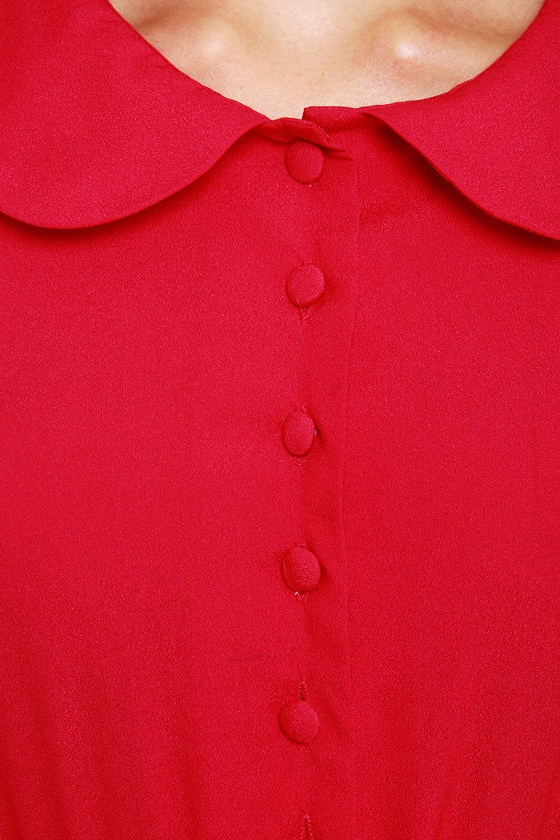 Cider Stand Pleated Red Dress