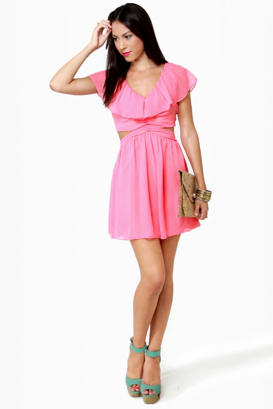 Cute Ruffle Dress - Pink Dress - Cutout Dress - $47.00