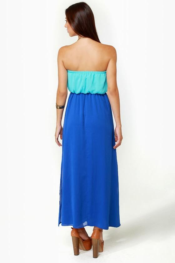 LULUS Exclusive Who\\\\\\\\\\\\\\\\\\\\\\\\\\\\\\\'s Who Aqua and Royal Blue Maxi Dress