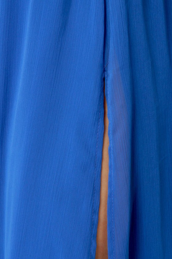LULUS Exclusive Who\\\\\\\\\\\\\\\\\\\\\\\\\\\\\\\'s Who Aqua and Royal Blue Maxi Dress
