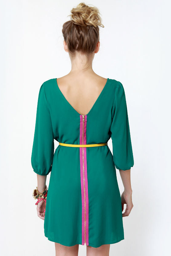 Gem of the Woods Belted Teal Dress at Lulus.com!