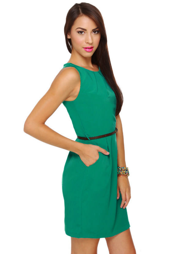 Picnic on the Lawn Belted Teal Dress
