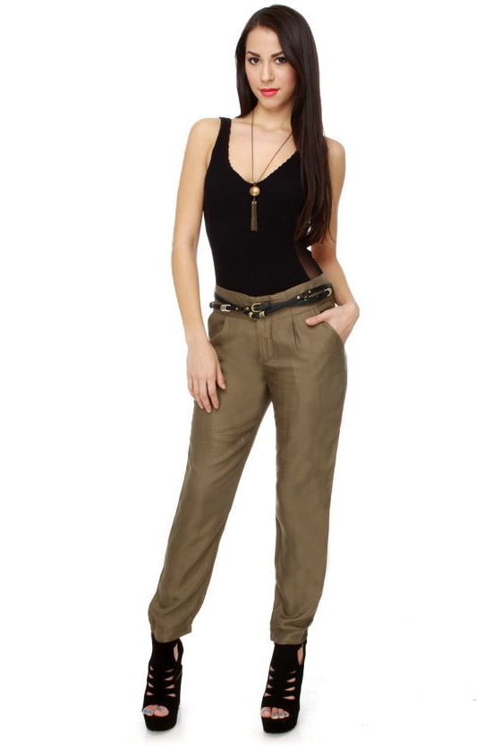 Silk Equestrian Khaki Pants