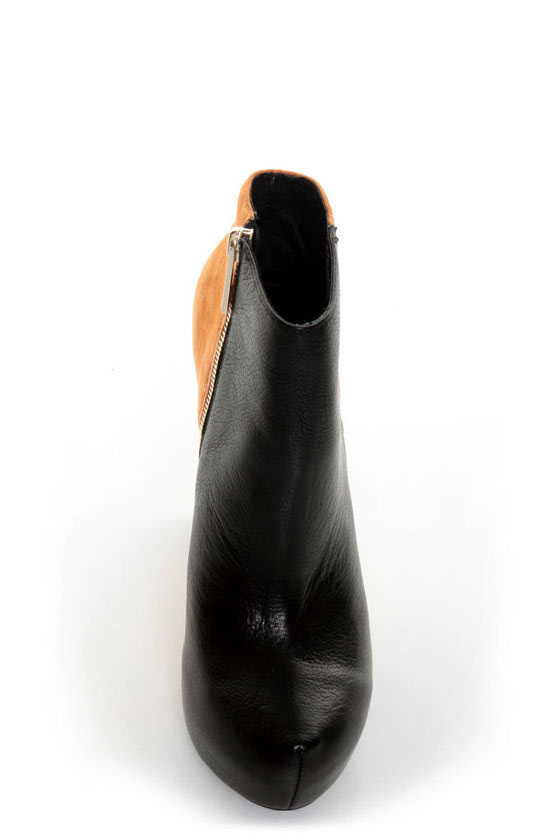 Matiko Madison Black & Orange Color Block Wedge Ankle Booties