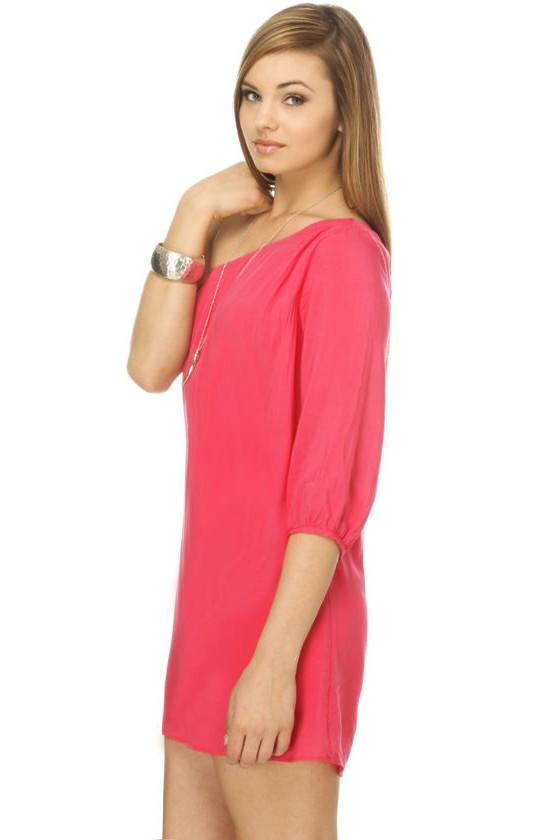 La La Love One Shoulder Pink Dress