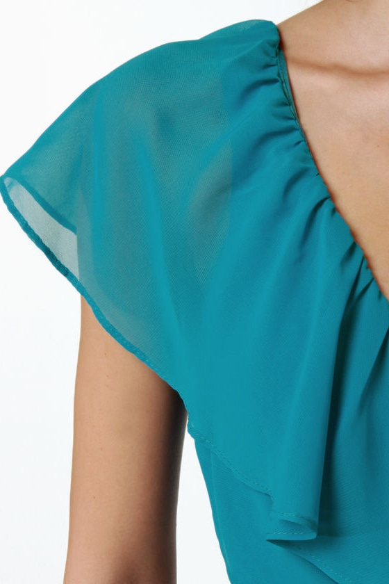 Ruffle, Shuffle, and Roll Teal Blue Dress at Lulus.com!