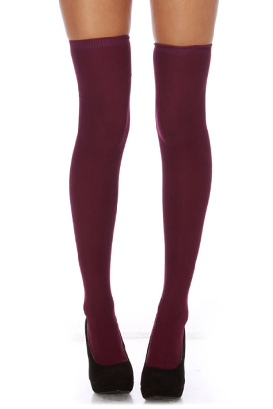 Dana Burgundy Over the Knee Socks