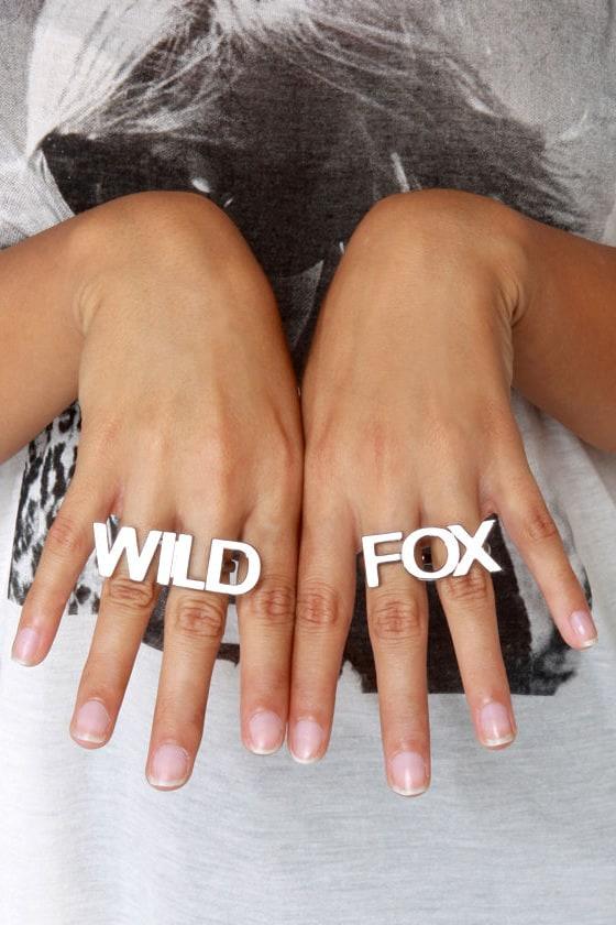 Wildfox Duo Hematite Two-Finger Ring Set