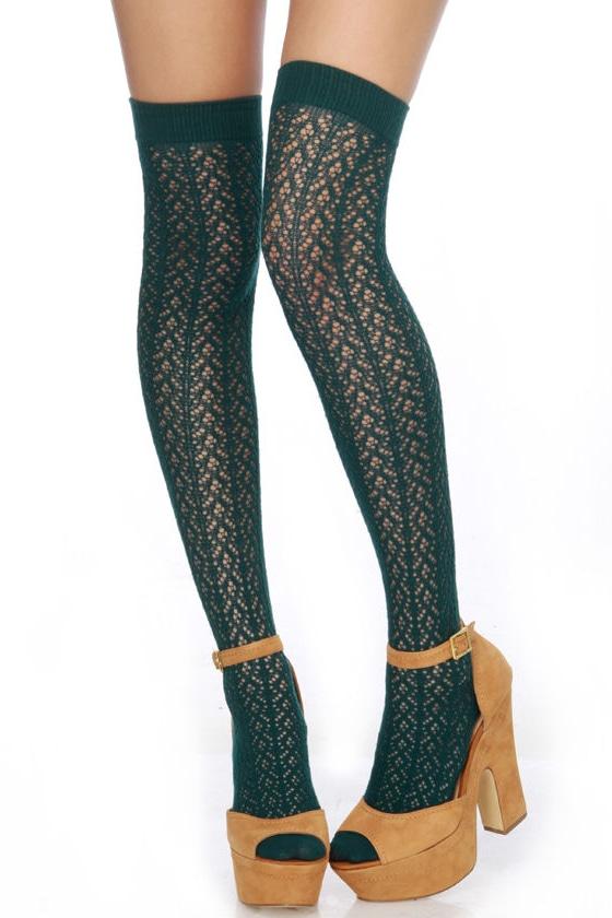 Tabbisocks Kawaii Crocheted Knee High Teal Socks