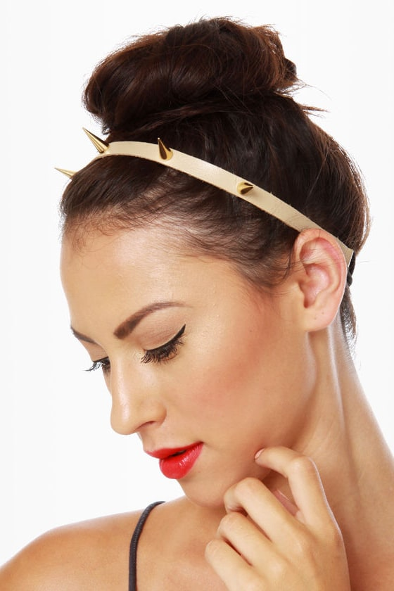 Spike\'s Peak Beige and Gold Headband