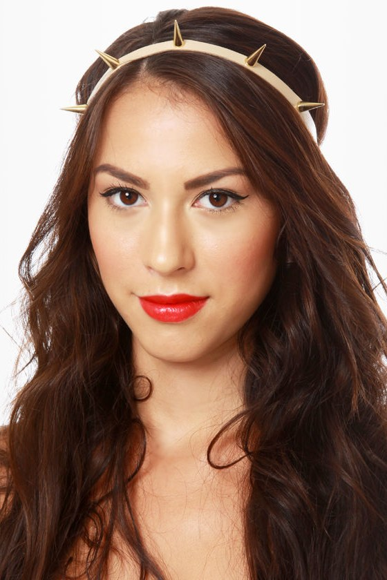 Spike's Peak Beige and Gold Headband at Lulus.com!
