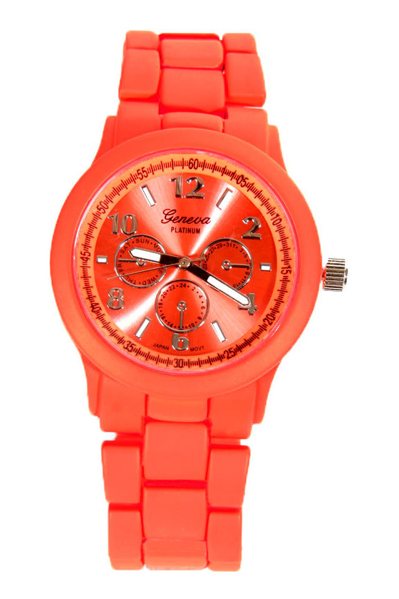 Eye on the Time Neon Coral Watch at Lulus.com!