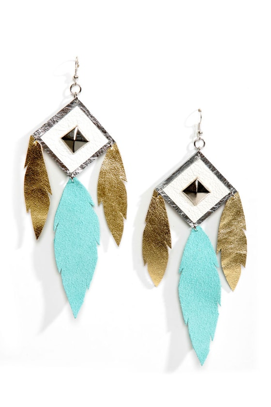 Claire Fong Trifecta Gold and Mint Leather Earrings