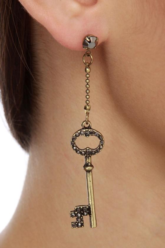 Key to My Heart Gold Earrings