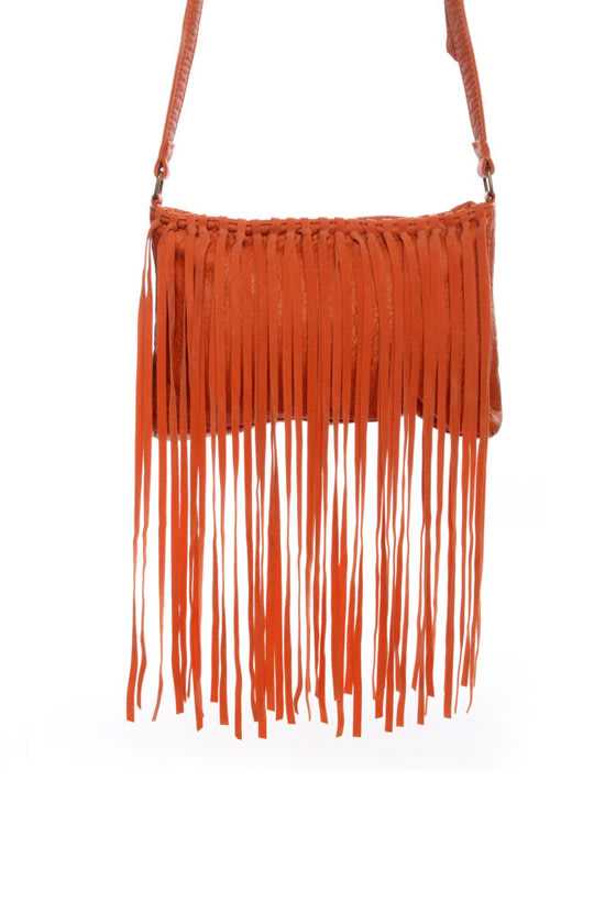 Boho Mojo Fringe Orange Purse