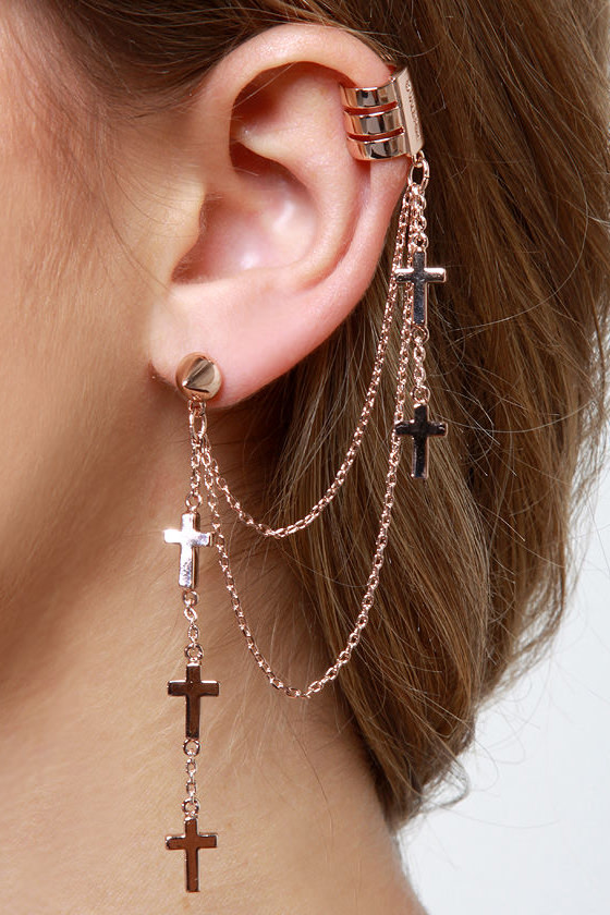Wildfox Crossover Rose Gold Ear Cuff
