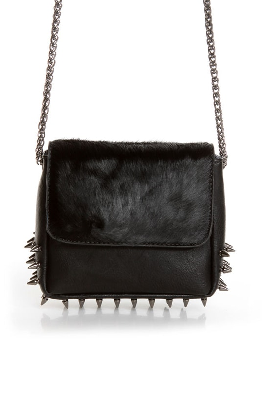 Spike Cake Black Leather Purse