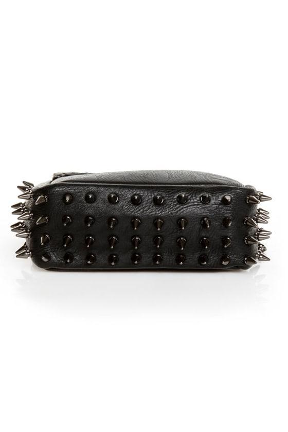 Spike Cake Black Leather Purse