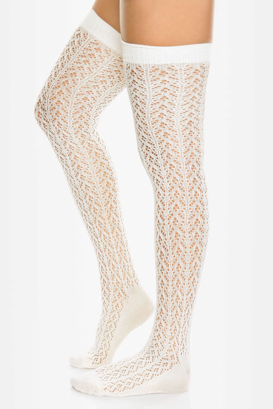 Tabbisocks Kawaii Crocheted Ivory Over the Knee Socks