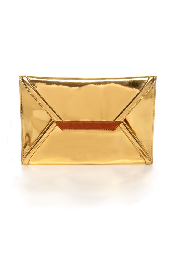 Cute Gold Clutch - Metallic Clutch - Envelope Clutch - $42.00