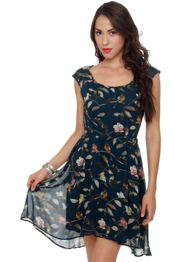Birds of Praise Navy Blue Print Dress