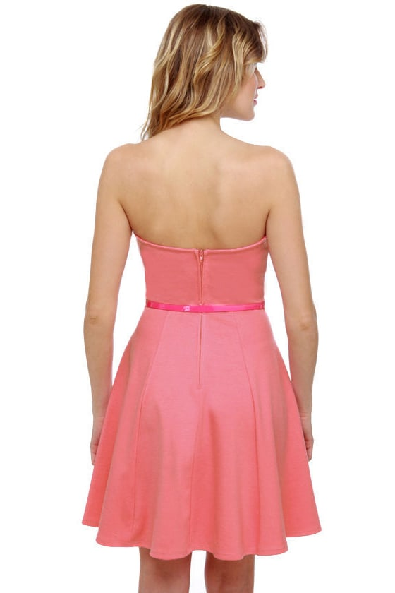A Flare to Remember Strapless Pink Dress