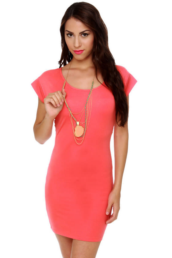 Twist and Knockout Coral Dress at Lulus.com!