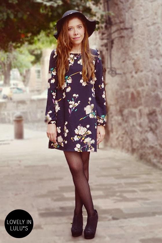 Herbaceous Babe Navy Floral Print Shift Dress 7