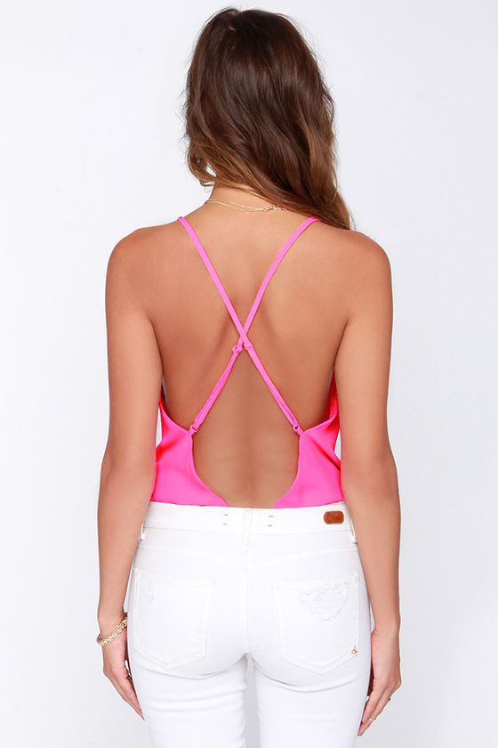 Showstopper Backless Neon Pink Bodysuit at Lulus.com!
