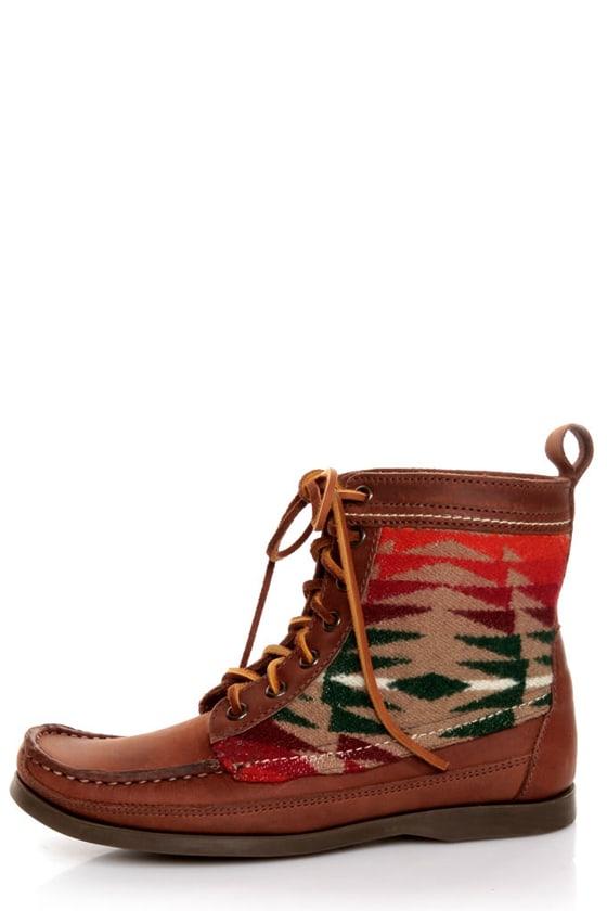 2568 Samosa Brown Pendleton Wool Southwest Print Lace-Up Boots