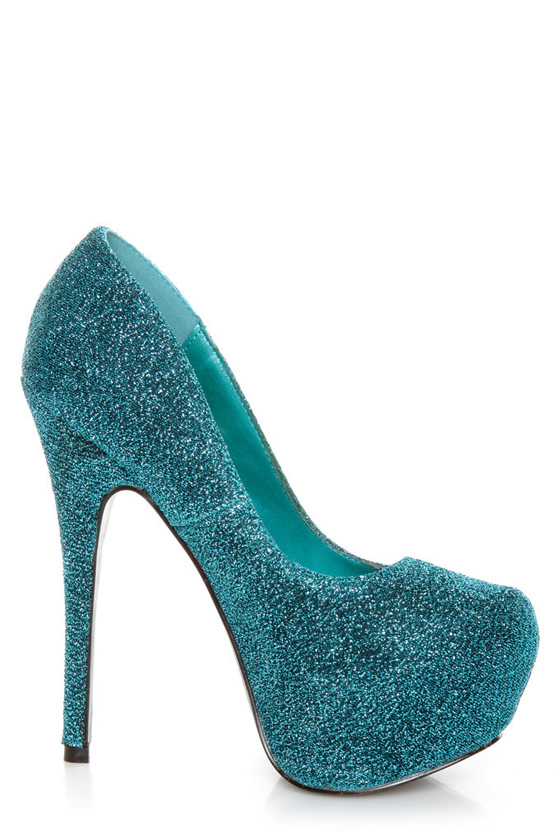Mystic 1 Blue Glitter Fabric Platform Pumps at Lulus.com!