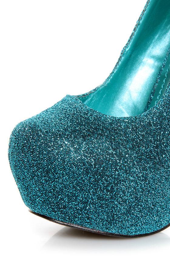 Mystic 1 Blue Glitter Fabric Platform Pumps