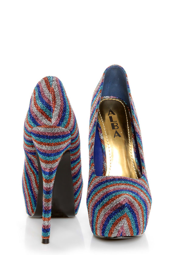 Mystic 2 Blue Striped Glitter Fabric Platform Pumps