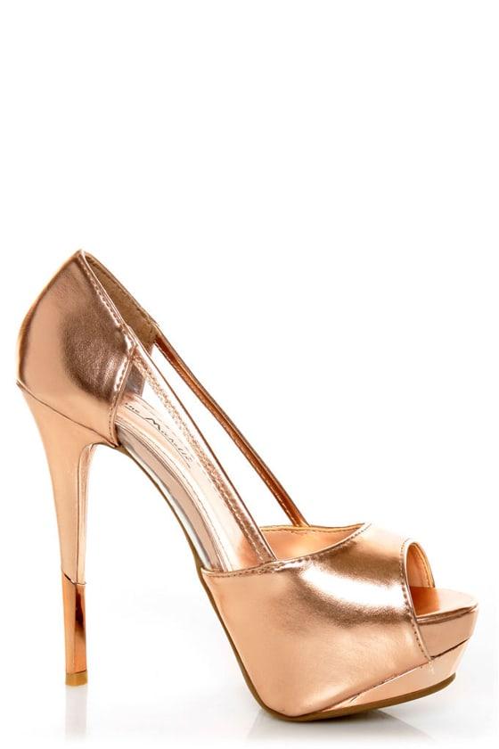 Anne Michelle Barbie 06 Rose Gold Metallic Platform Pumps