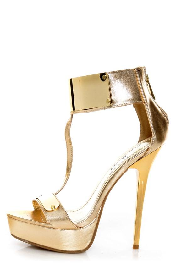 Anne Michelle Socialite 60 Gold Plated T-Strap Platform Heels - $49.00