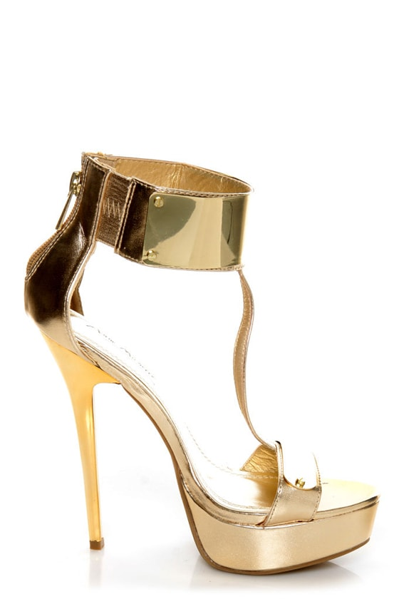 Anne Michelle Socialite 60 Gold Plated T-Strap Platform Heels at Lulus.com!