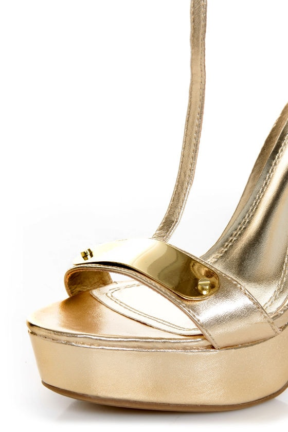 Anne Michelle Socialite 60 Gold Plated T-Strap Platform Heels