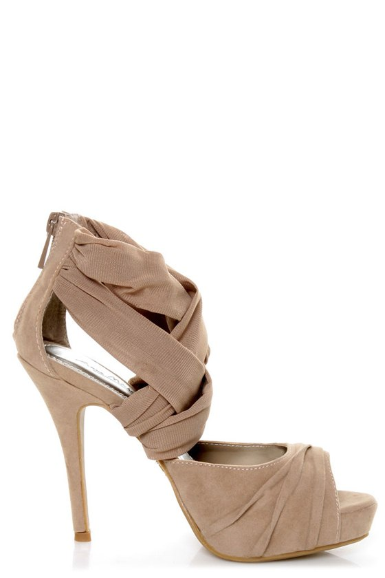 Anne Michelle Verdict 52 Taupe Stretchy Mesh and Suede Heels at Lulus.com!